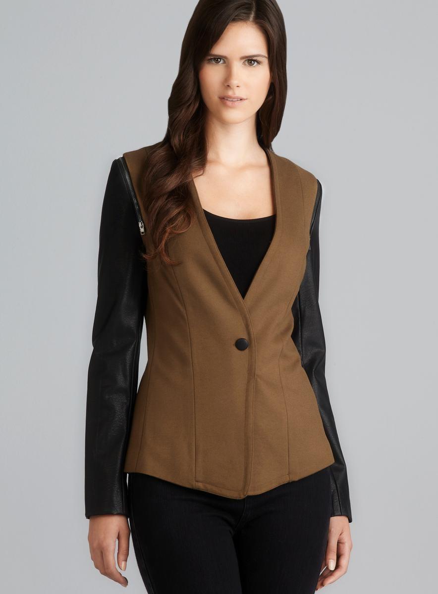 Jaye.e. Shoulder Zip Detail Faux Leather Sleeve Blazer