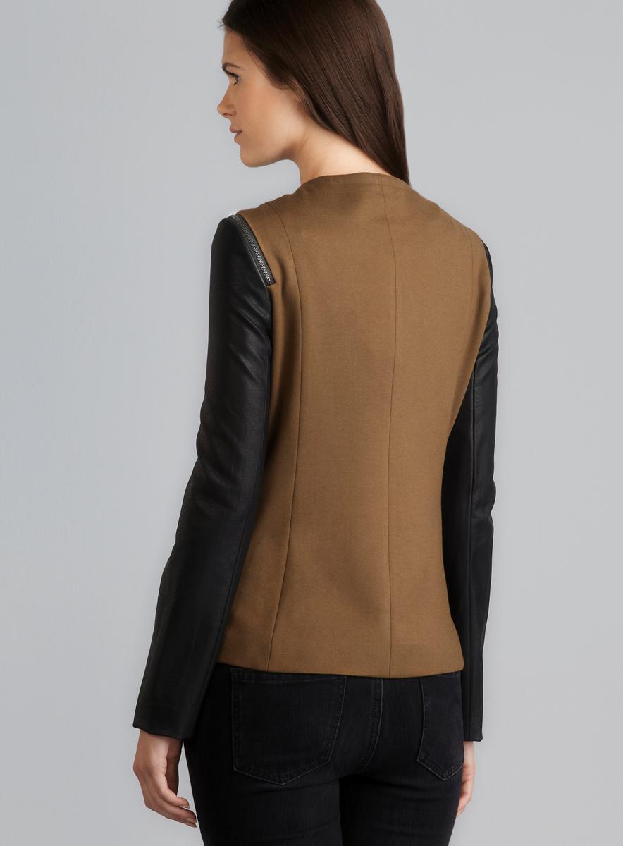 Jaye.e. Shoulder Zip Detail Faux Leather Sleeve Blazer - Thumbnail 1