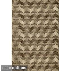 Sorrel Chevron Grey Reversible Indoor Hand Woven Wool Rug (5' x 8')