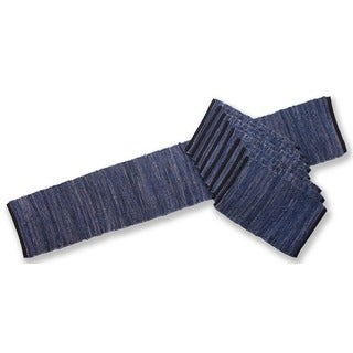 Matador Blue Leather/ Cotton Table Runner and Place Mats Set