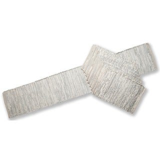 Matador White and Grey Leather/ Cotton Table Runner and Place Mats Set