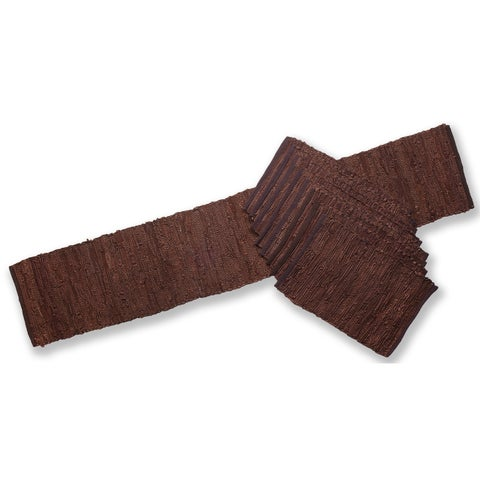 Matador Brown Leather/ Cotton Table Runner and Place Mats Set