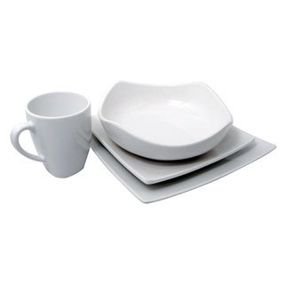Le Chef Melamine White Square 4-piece Dinnerware Set  sc 1 st  Overstock.com & White Melamine 4-piece Dinnerware Set - Free Shipping On Orders Over ...
