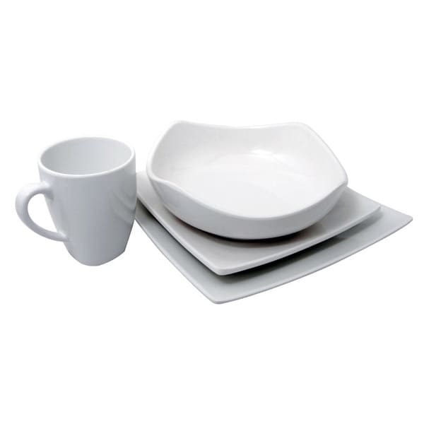 Shop Le Chef Melamine White Square 4 Piece Dinnerware Set Free