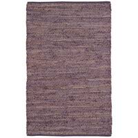 Hand-woven Purple Jeans Denim/ Hemp Rug - 8' x 10'