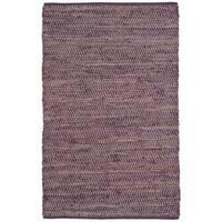 Hand-woven Purple Jeans Denim/ Hemp Rug (8' x 10') - 8' x 10'