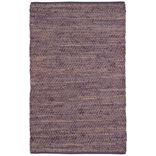 Hand-woven Purple Jeans Denim/ Hemp Rug (8' x 10')