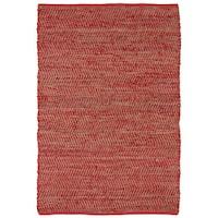 Hand-woven Red Jeans Denim/ Hemp Rug - 8' x 10'