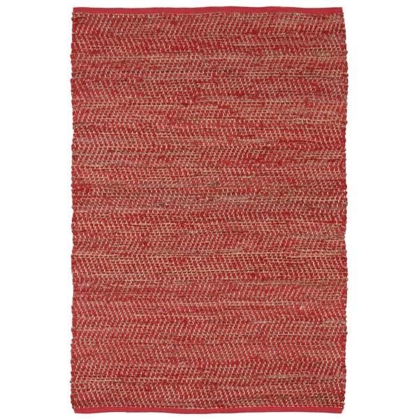 Hand-woven Red Jeans Denim/ Hemp Rug (8' x 10') - 8' x 10'