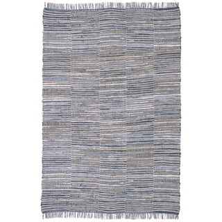 Hand-woven Blue Jeans Checkered Denim/ Hemp Rug (5' x 8')