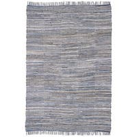 Hand-woven Blue Jeans Checkered Denim/ Hemp Rug - 5' x 8'