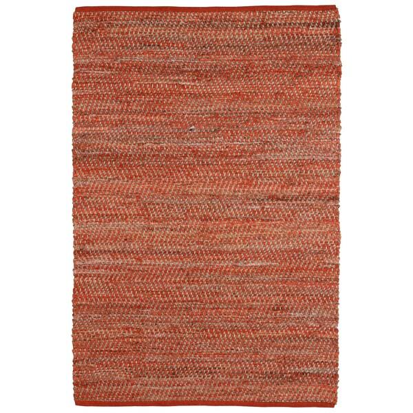 Hand-woven Orange Jeans Denim/ Hemp Rug (8' x 10')