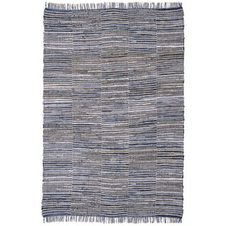 Hand-woven Blue Jeans Checkered Denim/ Hemp Rug (4' x 6')