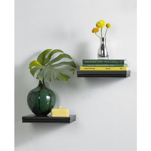 Classic Black Floating Wall Mount Shelves (Set of 2)