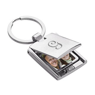 Engraved Initial Flip Photo Frame Key Chain