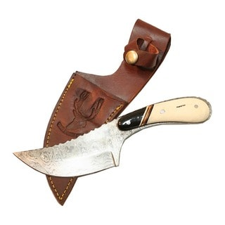 Full Tang 8.5-inch Damascus Skinner Knife Bone Handle Series Leather Sheath
