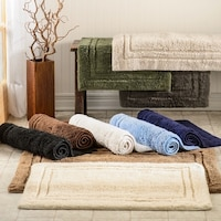 Superior Luxurious Combed Cotton Non Skid Bath Rug Set Of 2