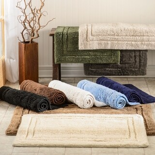 Superior Luxurious Combed Cotton Non-skid Bath Rug Set - Set of 2