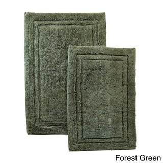 Superior Luxurious Combed Cotton Non-skid Bath Rug Set - Set of 2 (Option: Forest Green)