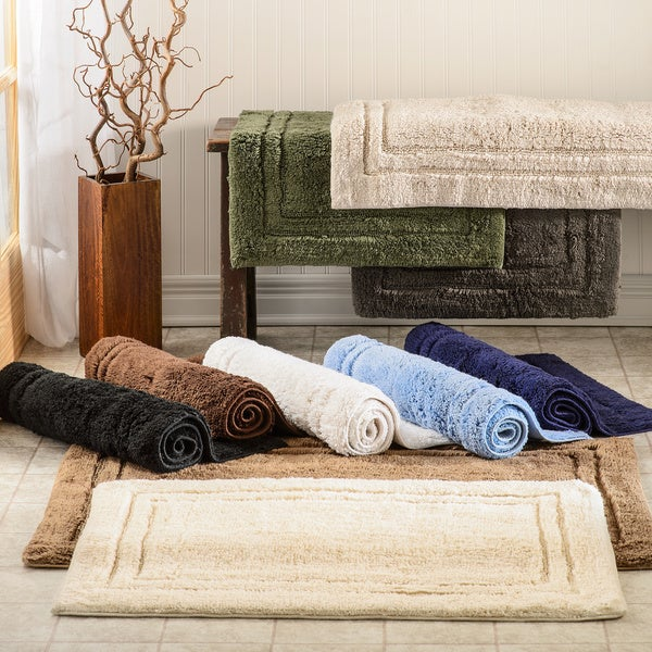 Superior Luxurious Combed Cotton Non Skid Bath Rug Set   Set Of 2