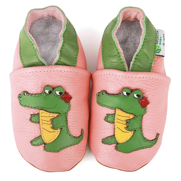 Pink Alligator Soft Sole Leather Baby Shoes