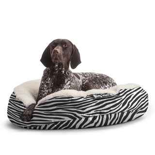 DogSack Big Joe Round Zebra Print Small / Med Microfiber and Sherpa Pet Bed