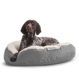 DogSack Big Joe Round Steel Grey Small / Med Microfiber and Sherpa Pet Bed