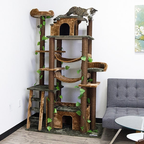 Shop Kitty Mansions Amazon Green Cat Tree Furniture Free
