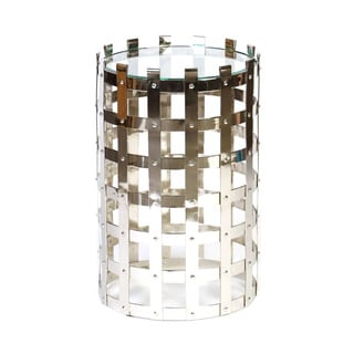 Metal Woven Nickel Finish Drum End Table