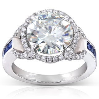 Annello 14k White Gold Round-cut Moissanite (HI), Blue Sapphire and 1/4 ct TDW Diamond Engagement Ring (More options available)