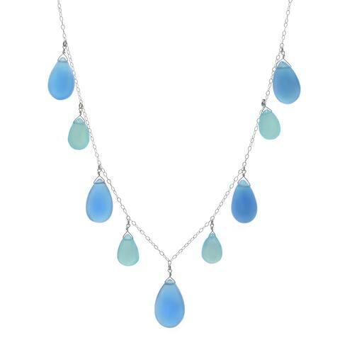 Blue Chalcedony Briolette Gemstone Sterling Silver Handmade Necklace