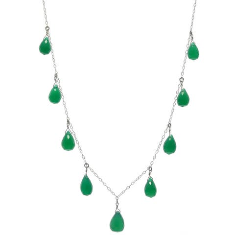 Green Chalcedony Gemstone Sterling Silver Handmade Necklace