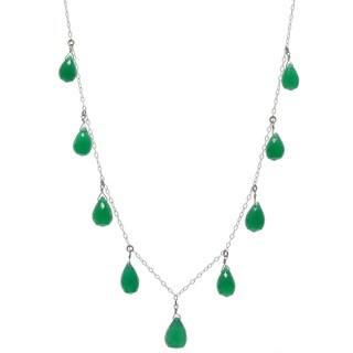 Handmade Ashanti Sterling Silver Emerald Green Small Chalcedony Briolette Gemstone Necklace (Sri Lanka)