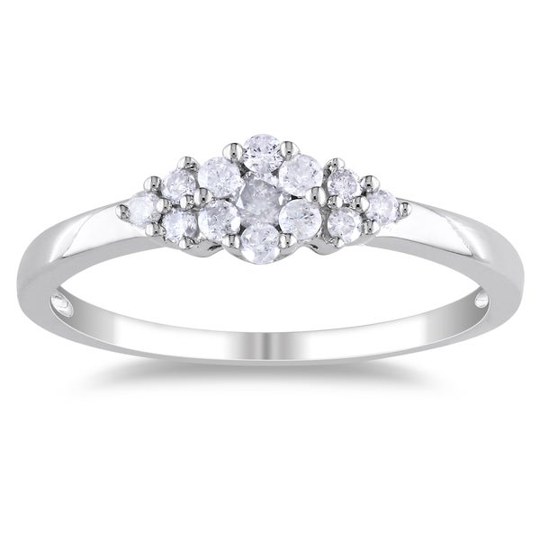 Miadora Sterling Silver 1/4ct TDW Diamond Promise Ring