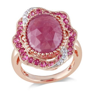 Miadora Signature Collection 14k Rose Gold Pink Sapphire and 1/10ct TDW Diamond Ring (G-H, SI1-SI2)