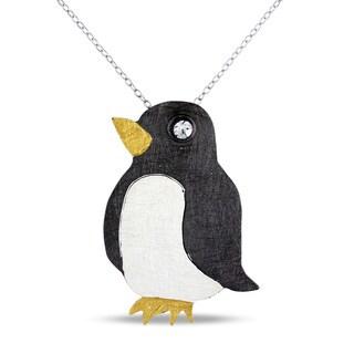 M by Miadora Three-tone Silver Cubic Zirconia Penguin Necklace