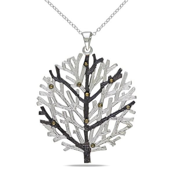 Miadora Sterling Silver Marcasite Tree Necklace