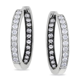 Miadora Sterling Silver 1/2ct TDW Diamond Hoop Earrings (I-J I2-I3)