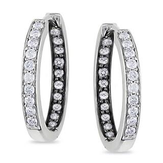 Miadora Sterling Silver 1/2ct TDW Diamond Hoop Earrings