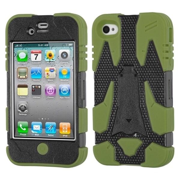 INSTEN Black/ Green Cyborg Hybrid Phone Case Cover for Apple iPhone 4S/ 4