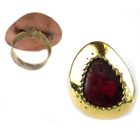 Handmade Oval Organic Brass and Copper Ring (South Africa)