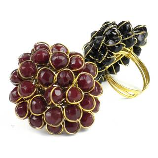 Handmade Burgundy Chrysanthemum Ring (India)