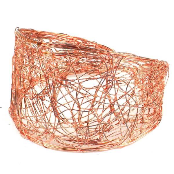Handmade Scribble Design Copper Wire Cuff (India)
