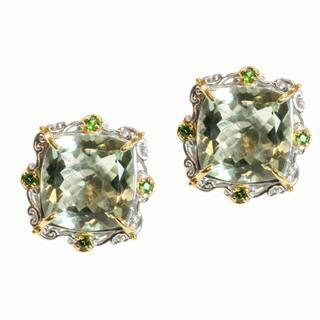 Michael Valitutti Two-tone Green Amethyst and Chrome Diopside Earrings https://ak1.ostkcdn.com/images/products/8315656/8315656/Michael-Valitutti-Two-tone-Green-Amethyst-and-Chrome-Diopside-Earrings-P15630498.jpg?impolicy=medium