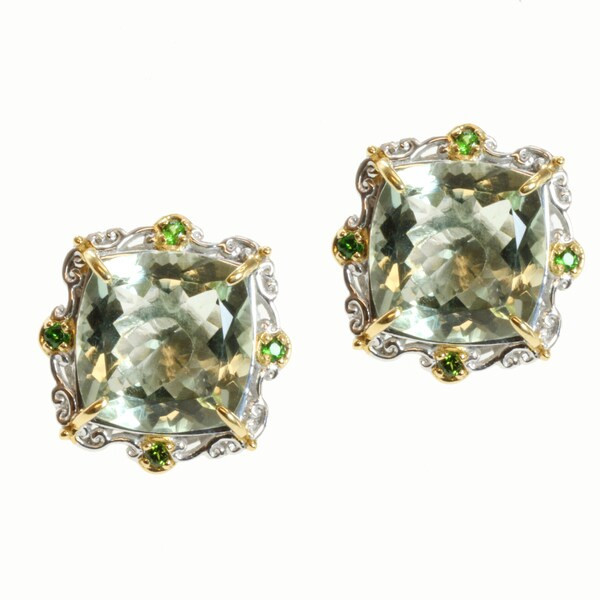 Michael Valitutti Two Tone Green Amethyst And Chrome Diopside Earrings