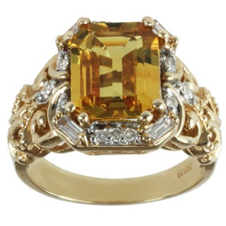 Michael Valitutti 14k Yellow Gold Yellow Sapphire and Diamond Ring (I-J, I1-I2)