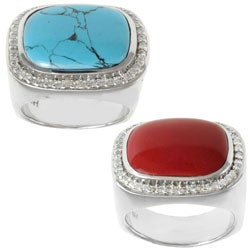 Michael Valitutti Sterling Silver Turquoise or Coral and Cubic Zirconia Ring