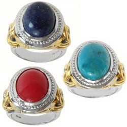 Michael Valitutti Two-tone Turquoise, Lapis or Red Quartz and White Sapphire Ring