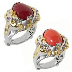 Michael Valitutti Two-tone Salmon Coral or Red Jade and Pink Sapphire or Ruby and White Sapphire Ring