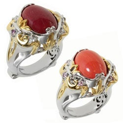 Michael Valitutti Two-tone Salmon Coral or Red Jade and Pink Sapphire or Ruby and White Sapphire Rin